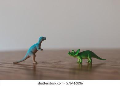 Tiny toy dinosaurs.