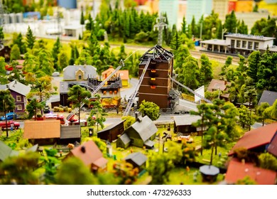 Tiny toy layout of city in landscape museum