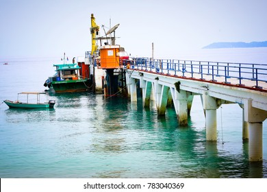 TIOMAN ISLAND MALAYSIA, 12 September 2017: Old pier on Tioman Island, Malaysia