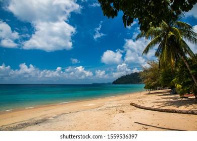 TIOMAN, MALAYSIA, FEB 2, 2019: Tekek beach of Tioman island in Malaysia