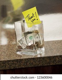 tip jar with thank you note