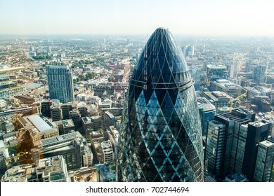The tip of London's iconic Gherkin building from up high. London, Spring 2017
