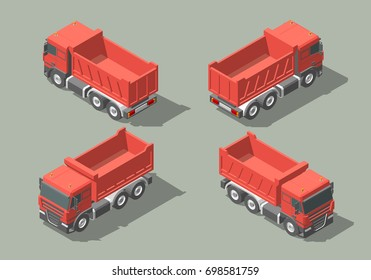 Tip truck isometric icon graphic illustration design. infographic