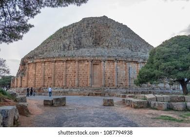 TIPAZA, ALGERIA - APRIL 24, 2018: Magnificent tomb of Juba II and Cleopatra Selene II near Tipasa (Tipaza)