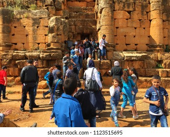 Tipaza, Algeria - May 7, 2016: People are just getting in and out from a small slit between bricks of Royal Mausoleum of Mauretania.
