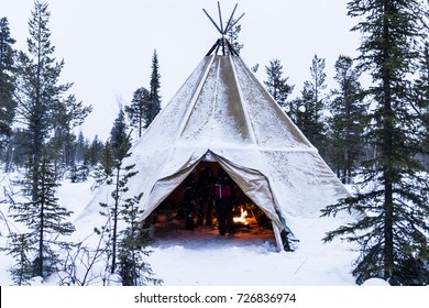 Tipi in Lapland,Sweden, in Winter