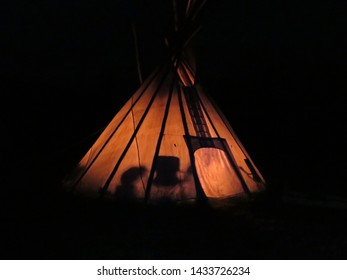 tipi from the outside at nighttime in Kluane National Park and Reserve of Canada Yukon September