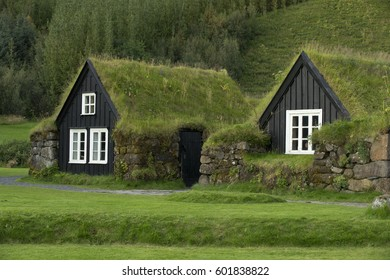 Tipical icelandic houses with roofs covered by ground and grass.