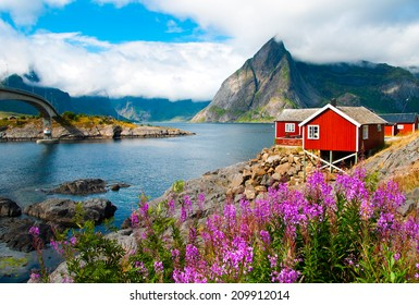 Tipical red fishing houses in a Harbor on Lofoten islands, Norway