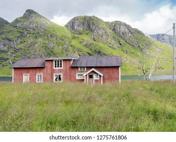 Tipical red house  on Lofoten islands, Norway