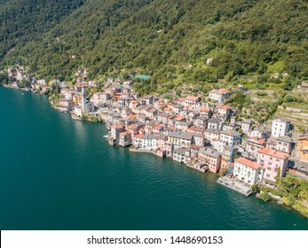 Tipical village of Como lake in Italy, old houses of Brienno village