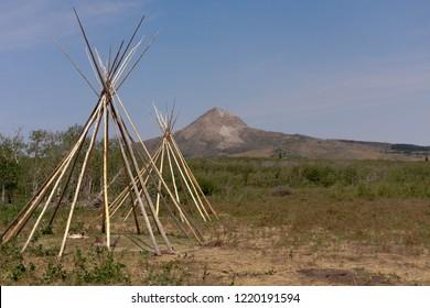 Tipis, mountain landscape. Heart Butte, Montana. Blackfeet Reservation.