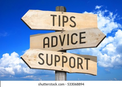 Tips, advice, support - wooden signpost