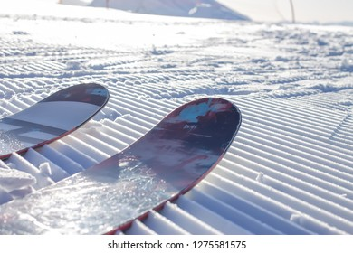 The tips of the skis on the fresh Velvet ski slopes. Alpine skiing freeride in Rosa Khutor