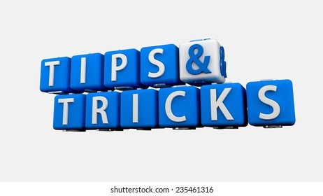 Tips and Tricks Words, isolated on white