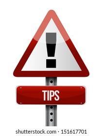 tips warning road sign illustration design over white