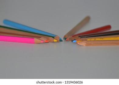 Tips of wooden pencils