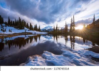 Tipsoo lake at sunset - Mt Rainier