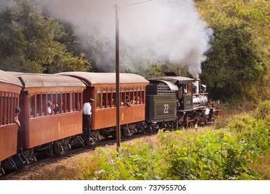 Tiradentes, Brazil. June 02, 2007. Puffer Steam Engine-locomotive. Vintage Railroad in Tiradentes, Minas Gerais, Brazil