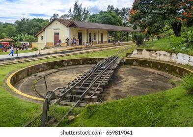 TIRADENTES ,BRAZIL , MARCH 21 , 2017 ; Railway turntable in Tiradentes ,a touristic  Colonial Unesco World Heritage city in Minas Gerais, Brazil.