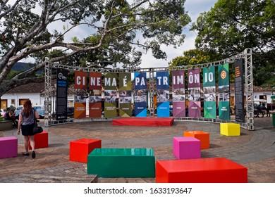 TIRADENTES, MINAS GERAIS, BRAZIL - JANUARY 27, 2020: Film Festival in public square (23ª Mostra de Cinema de Tiradentes).