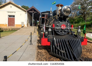 Tiradentes, Minas Gerais, Brazil - October 24, 2015: Steam train locomotive in Minas Gerais, Brazil, that once was part of the mining route in the age of gold mining