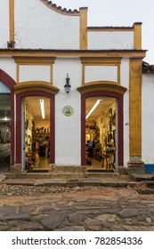 Tiradentes, Minas Gerais, May 4, 2013. This is a colorful Craft Shop, in one of the Colonial houses  of Tiradentes city, a vintage village and National Heritage place.