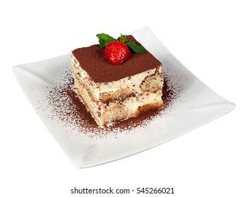 Tiramisu Cake Dessert with Strawberry and Mint Leaves
