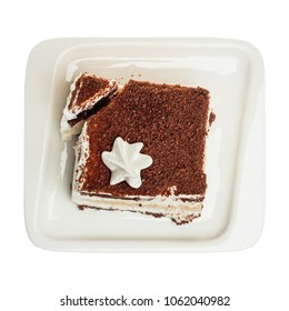 Tiramisu cake isolated on white background, top view
