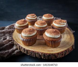 Tiramisu cupcakes with coffee sponge and mascarpone cheese frosting