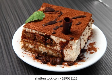 tiramisu dessert on a porcelain plate/ tiramisu dessert on a porcelain plate