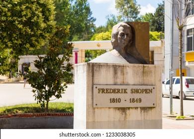 Tirana, Albania - 01 July 2014: Monument to Fryderyk Chopin in Tirana. Polish composer and virtuoso pianist of the Romantic era.