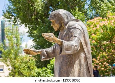 Tirana, Albania- 01 July 2014: Monument to Mother Teresa in the center of Tirana. Saint Mother Teresa of Calcutta, an Albanian nun.