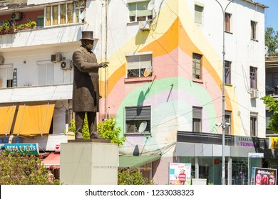 Tirana, Albania- 01 July 2014: Monument to President Thomas Woodrow Wilson in the center of Tirana. 28 USA president.