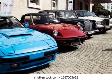 Tirana, Albania. April 2019: retro vintage car various colors exhibited
