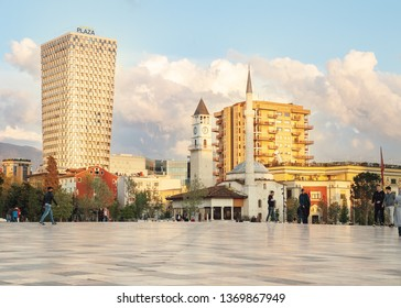 Tirana, Albania. April 2019: The Skanderbeg Square city center of Albanian Capital, people walking main square.