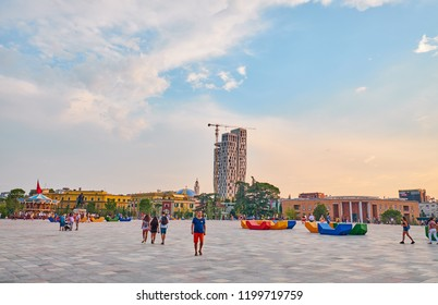 TIRANA, ALBANIA - AUGUST 9, 2018:  The Skanderbeg Square  is the main plaza in the centre of Tirana