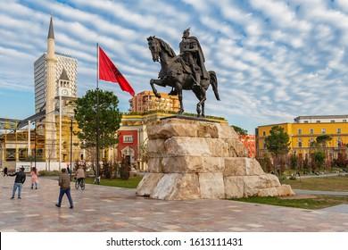 Tirana, Albania - January 10, 2020:  Monument of Skanderbeg in Scanderbeg Square in the center of Tirana, Albania.