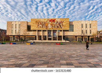 Tirana, Albania - January 10, 2020: National Museum of History in Skanderbeg square of Tirana, Albania.