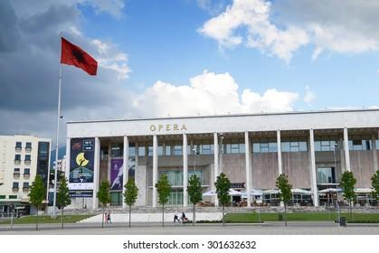 Tirana, Albania - July 12, 2014 - National Theatre of Opera and Ballet of Albania in Tirana, Opera house on the Skanderbeg Square, the main plaza named in 1968.Tirana, Albania.