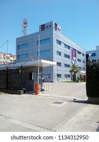 TIRANA, ALBANIA - JULY 4, 2018: Headquarters of Telekom Albania SH.A. (also known as T-Mobile Albania), a telecommunications company.