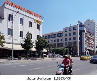 TIRANA, ALBANIA - JULY 5, 2018: Street view of the Albanian University UFO building.