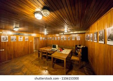 Tirana, Albania - June 1 2018: Interior of Bunkart 2, Tirana nuclear bunker in city center transformed into history museum, Albania