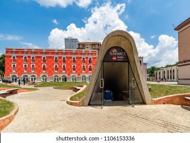Tirana, Albania - June 1 2018: Exit of Bunkart 2, Tirana nuclear bunker in city center transformed into history museum, Albania