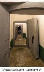 Tirana, Albania - June 1 2018: Interior of Bunkart 1, Tirana nuclear bunker transformed into history museum, Albania.