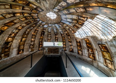 Tirana, Albania - June 1 2018: Entrance of Bunkart 2, Tirana nuclear bunker in city center transformed into history museum, Albania