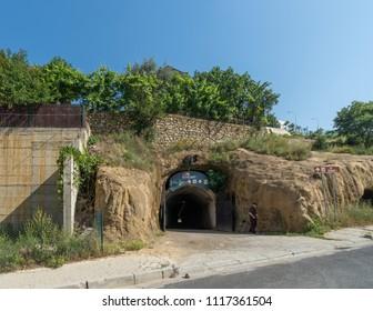 Tirana, Albania - June 1 2018: Entrance of Bunkart 1, Tirana nuclear bunker transformed into history museum, Albania