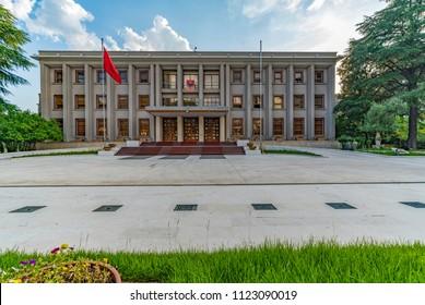 Tirana, Albania - June 1, 2018: Building of Presidenca e Republikes (Government  Office) on Deshmoret boulevard in Tirana.