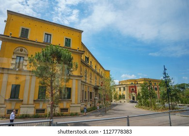 TIRANA, ALBANIA - JUNE 2018: Architectural traditional colorful buildings in the center of Tirana city, Albania. Tirana, the capital of Albania, Southeastern Europe