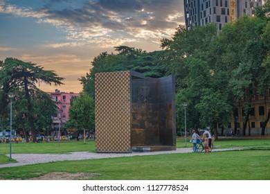TIRANA, ALBANIA - JUNE 2018: Architectural traditional buildings in the center of Tirana city, Albania. Tirana, the capital of Albania, Southeastern Europe
